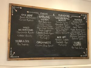 Locally sourced foods at the Larks, Ashland, OR