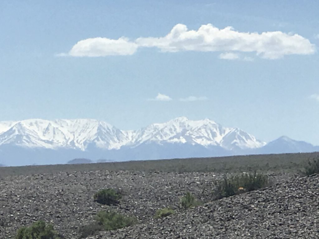 Snow covered Mountains along route 95 Nevada