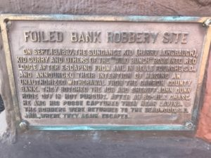 Foiled Bank Robbery sign in Red Lodge, MT
