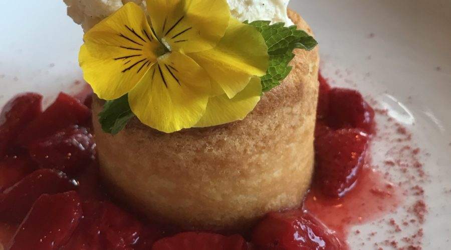 Warm Butter Cake with ice cream and strawberries at LARK, Ashland, OR