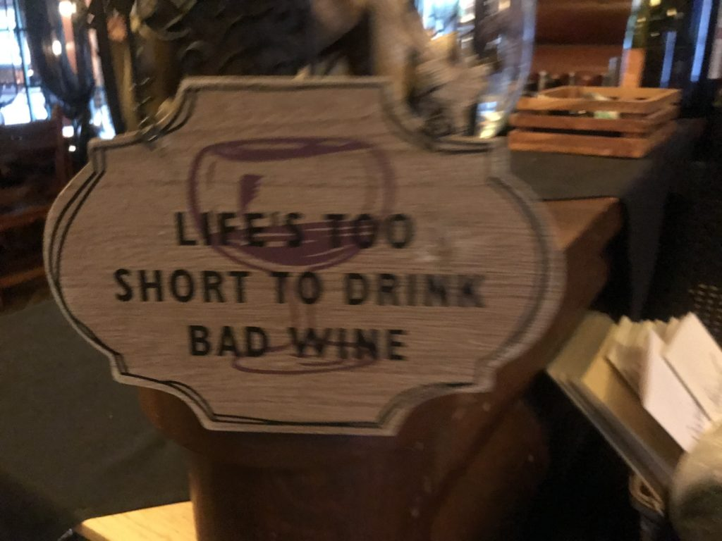 Wine Sign at Quinns Paradise Montana