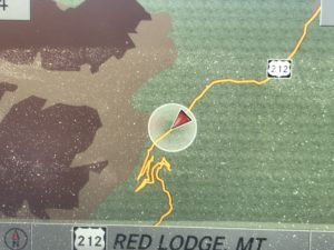 My car's navigation picture of the switchbacks Beartooth Highway MT