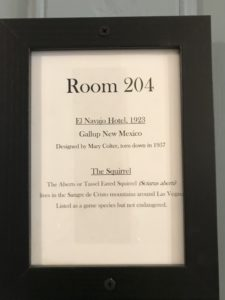 Each Room is named for a Fred Harvey Hotel at Casteñada, Las Vegas, NM