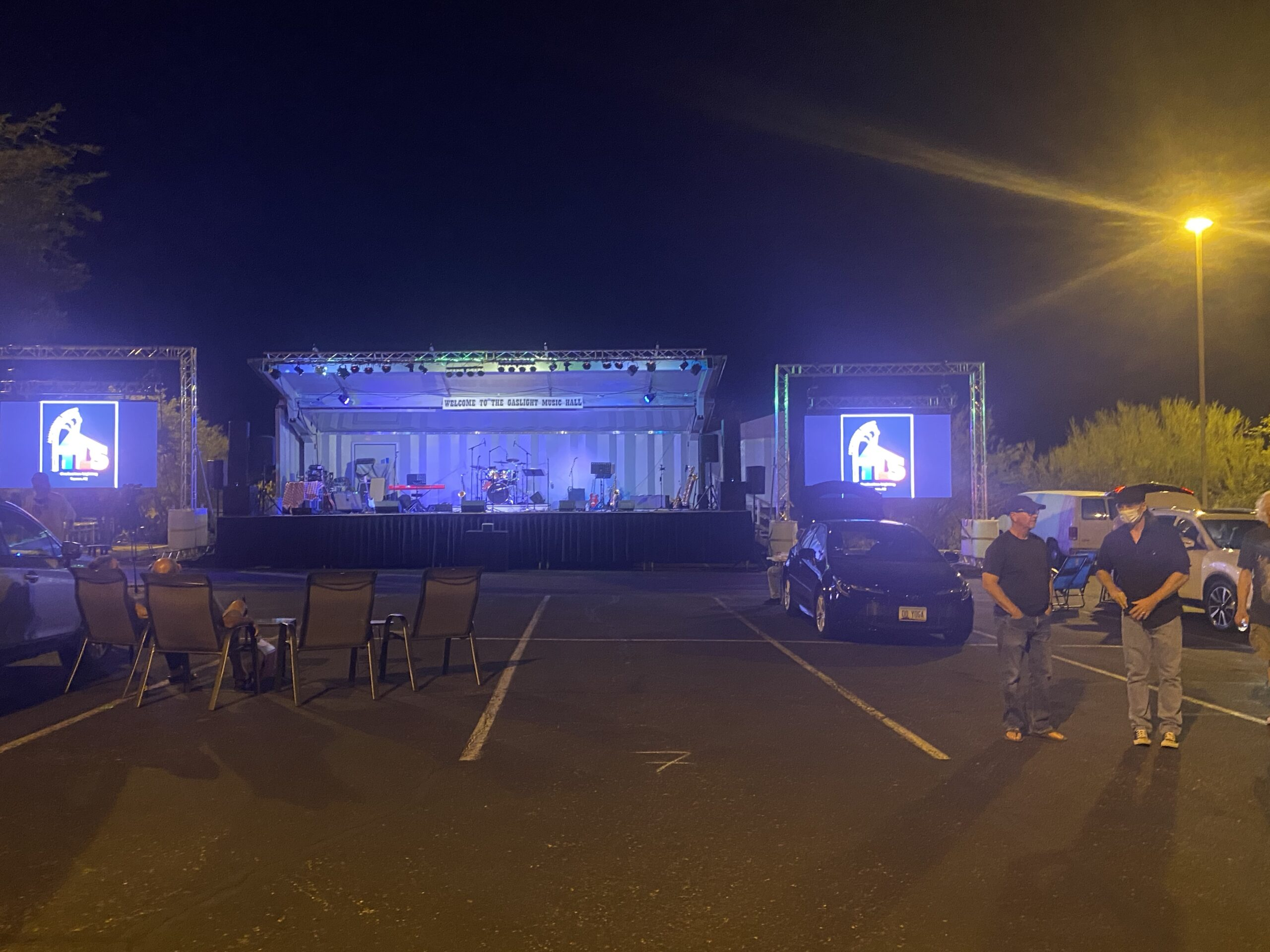 Stage and Parking Lot at Gaslight Music Hall, Oro Valley, AZ