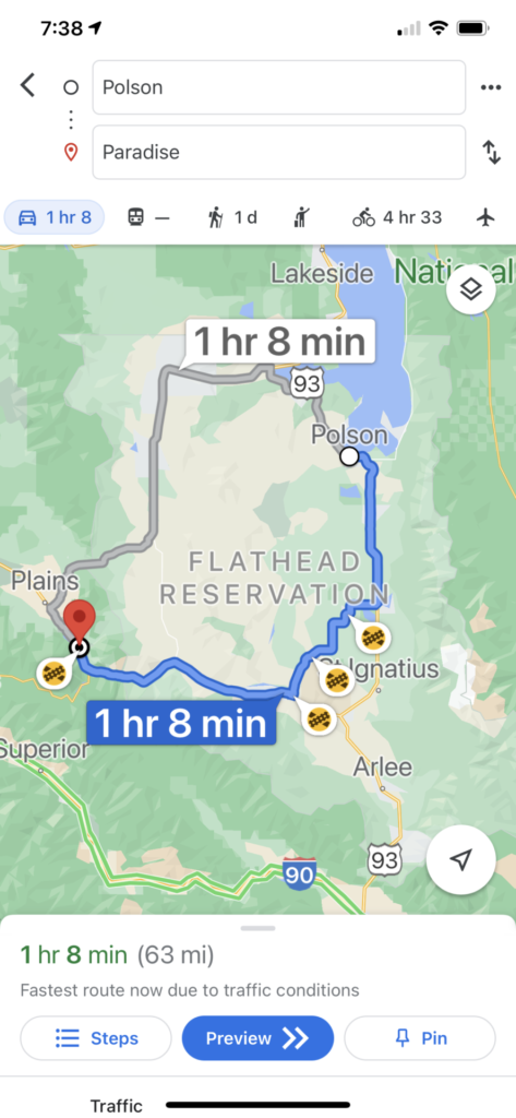 Route of Quinn's to Polson